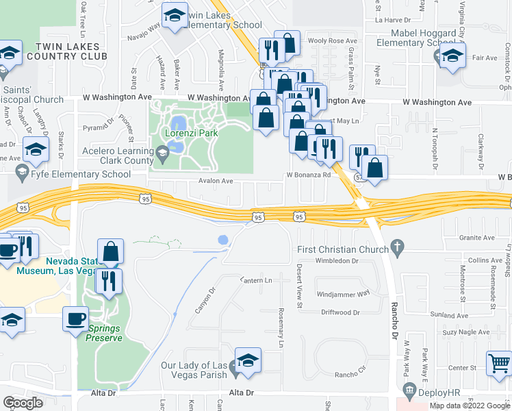 map of restaurants, bars, coffee shops, grocery stores, and more near Austin Ave in Las Vegas