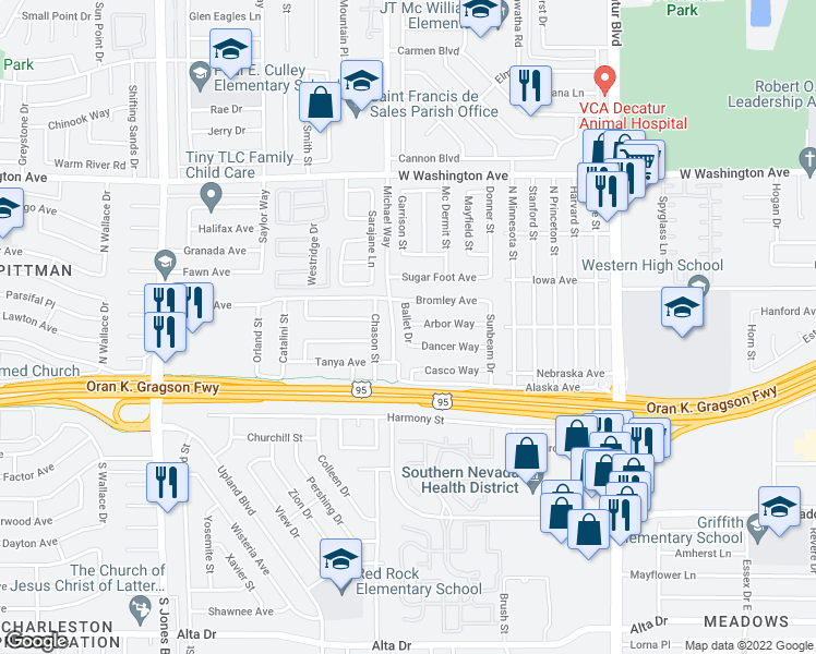 map of restaurants, bars, coffee shops, grocery stores, and more near 5220 Dancer Way in Las Vegas