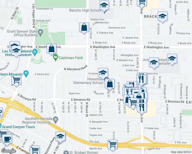 map of restaurants, bars, coffee shops, grocery stores, and more near 2309 E Mcwilliams Ave in Las Vegas