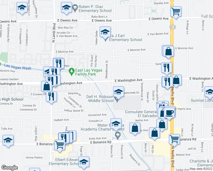 map of restaurants, bars, coffee shops, grocery stores, and more near Stoddard Ave in Las Vegas