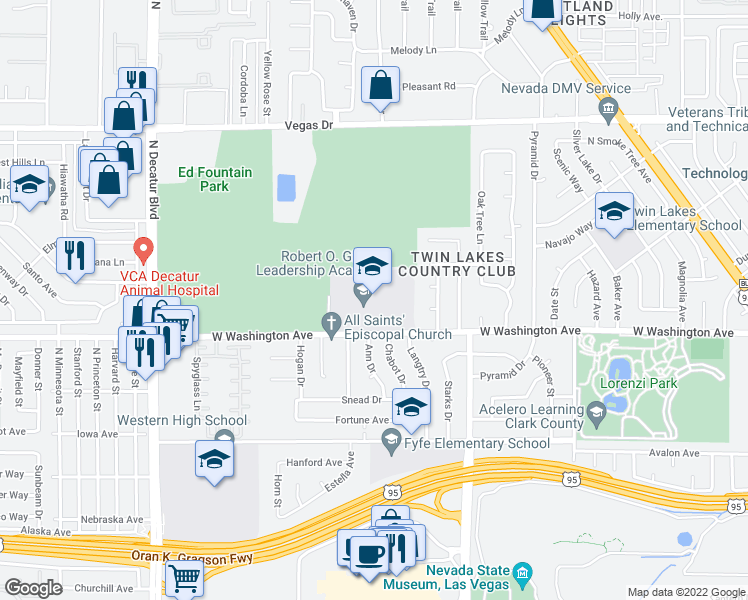 map of restaurants, bars, coffee shops, grocery stores, and more near 3900 West Washington Avenue in Las Vegas