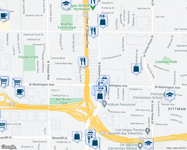 map of restaurants, bars, coffee shops, grocery stores, and more near 1101 North Rainbow Boulevard in Las Vegas