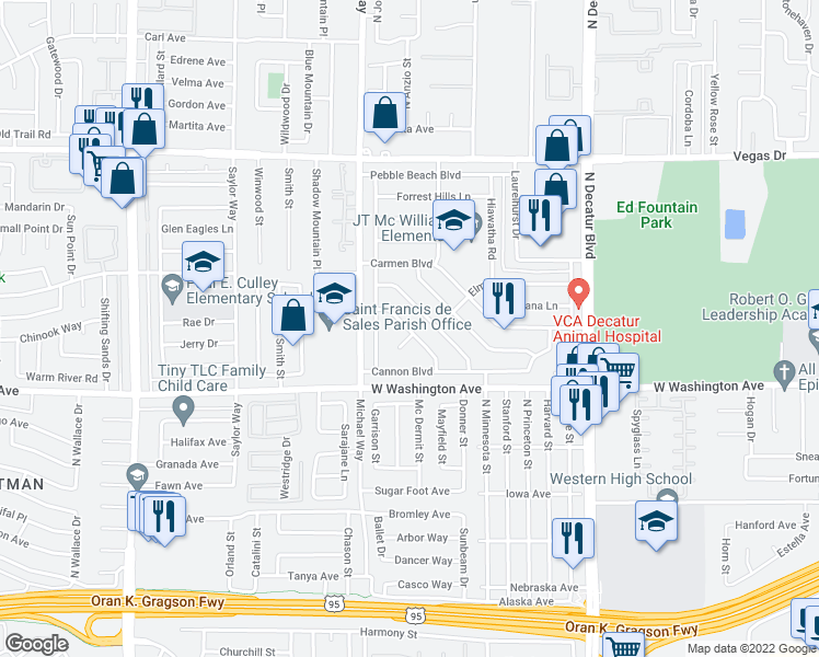 map of restaurants, bars, coffee shops, grocery stores, and more near 1109-1113 Nassau Drive in Las Vegas