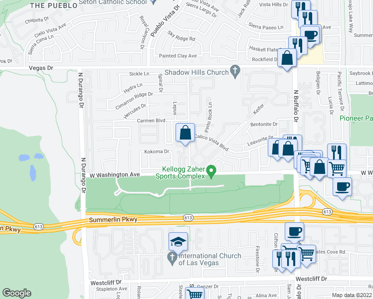 map of restaurants, bars, coffee shops, grocery stores, and more near 1024 Allure Drive in Las Vegas