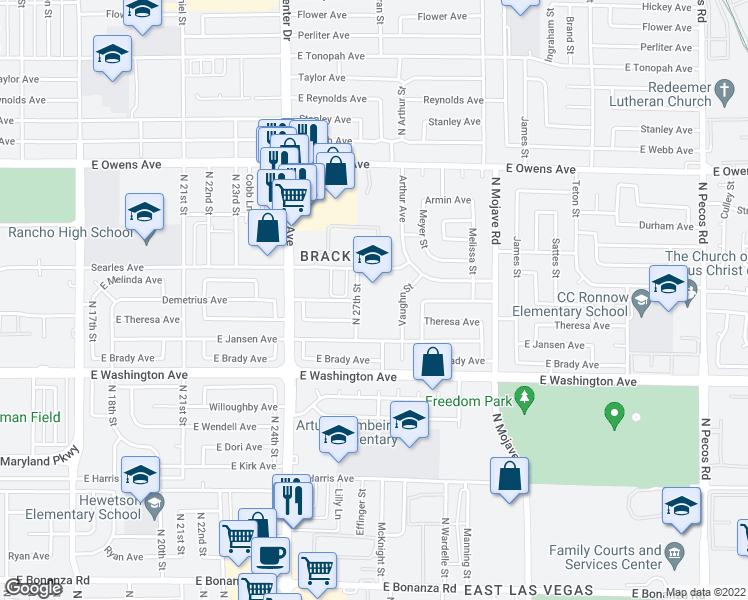map of restaurants, bars, coffee shops, grocery stores, and more near 1100 North 27th Street in Las Vegas