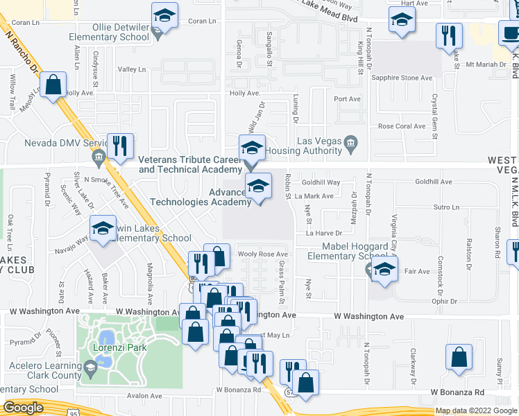 map of restaurants, bars, coffee shops, grocery stores, and more near 2531 Vegas Dr in Las Vegas