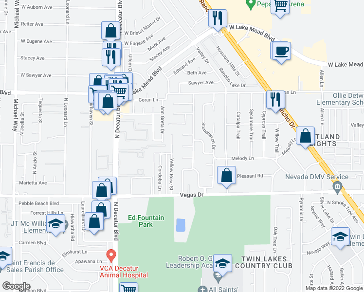 map of restaurants, bars, coffee shops, grocery stores, and more near Denia Cir in Las Vegas