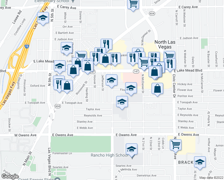 map of restaurants, bars, coffee shops, grocery stores, and more near 1840 N Bruce St in North Las Vegas
