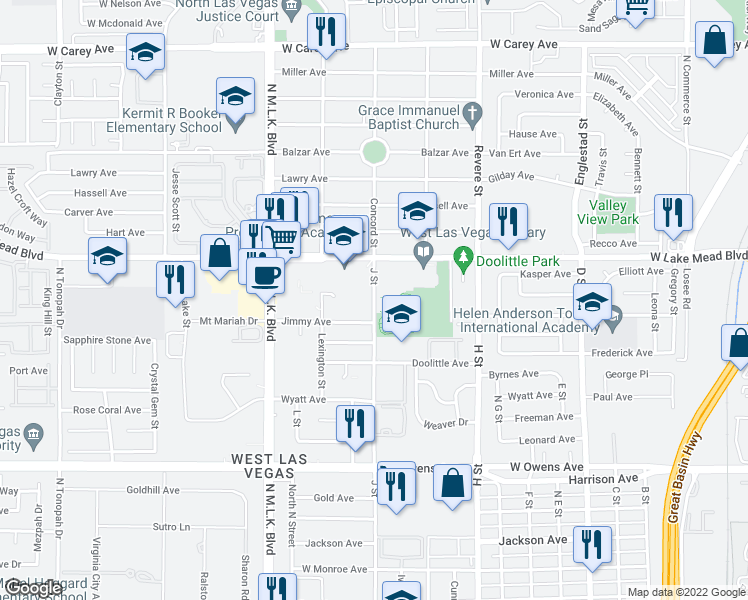 map of restaurants, bars, coffee shops, grocery stores, and more near 1950 N J St in Las Vegas