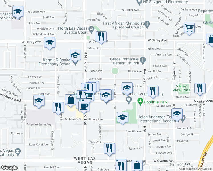 map of restaurants, bars, coffee shops, grocery stores, and more near 1212 Hassell Avenue in Las Vegas