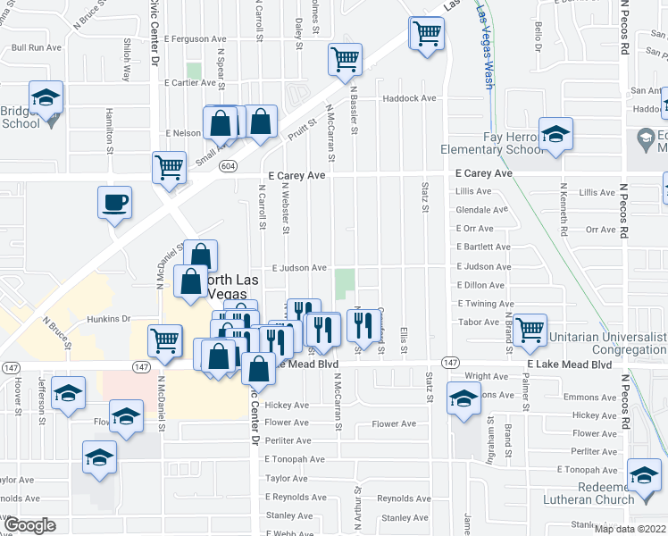 map of restaurants, bars, coffee shops, grocery stores, and more near N Mc Carran St in North Las Vegas