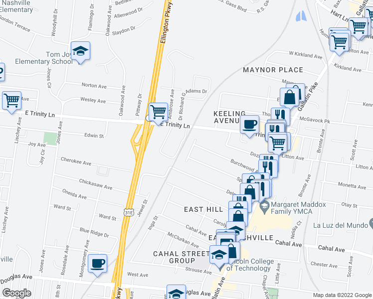 map of restaurants, bars, coffee shops, grocery stores, and more near 2807 Gear Street in Nashville