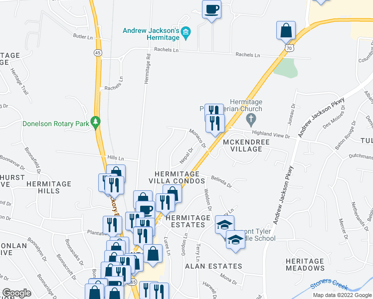 map of restaurants, bars, coffee shops, grocery stores, and more near 4252 Nepal Dr in Nashville