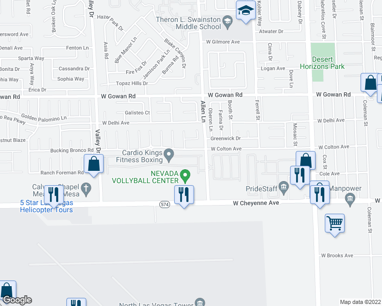map of restaurants, bars, coffee shops, grocery stores, and more near 3744 Thomas Patrick Ave in North Las Vegas