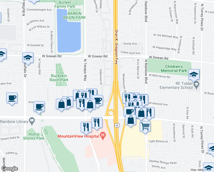 map of restaurants, bars, coffee shops, grocery stores, and more near 3300 North Tenaya Way in Las Vegas