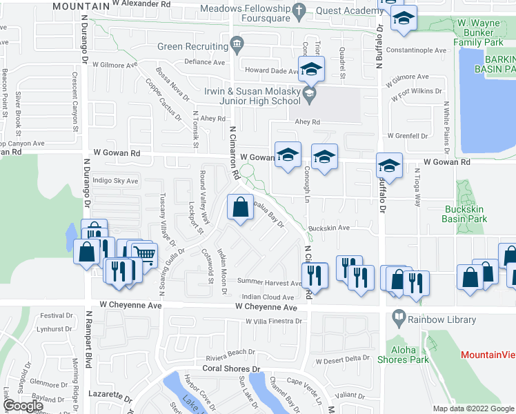 map of restaurants, bars, coffee shops, grocery stores, and more near 7901 Seabourn Ct in Las Vegas