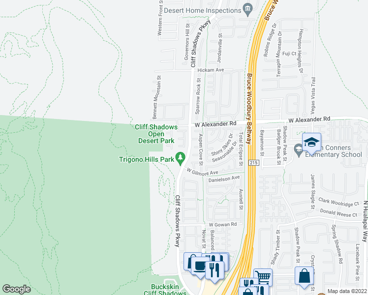 map of restaurants, bars, coffee shops, grocery stores, and more near 10732 Medford Oaks Court in Las Vegas