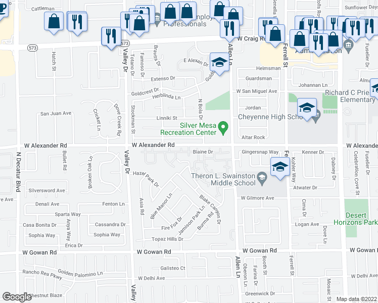 map of restaurants, bars, coffee shops, grocery stores, and more near 3949 West Alexander Road in North Las Vegas