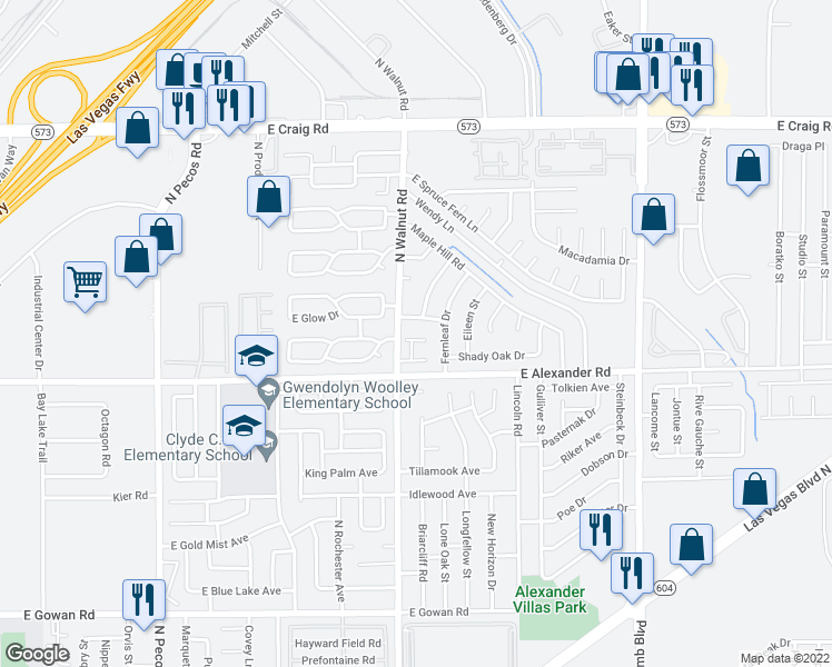 map of restaurants, bars, coffee shops, grocery stores, and more near 3944 Mindy Street in Las Vegas