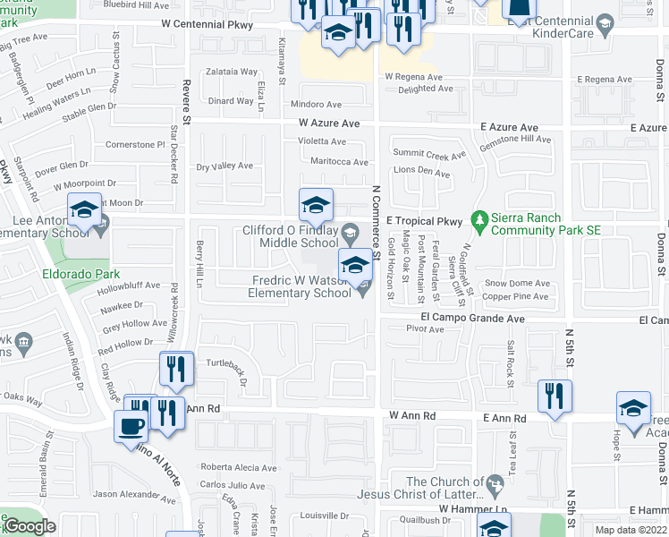 map of restaurants, bars, coffee shops, grocery stores, and more near Forest View Drive in North Las Vegas