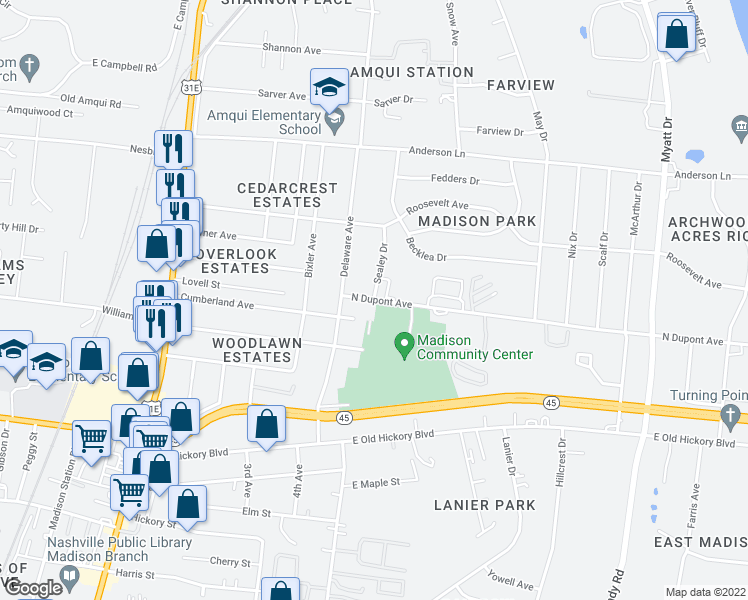 map of restaurants, bars, coffee shops, grocery stores, and more near N Dupont Ave & Sealey Dr in Nashville
