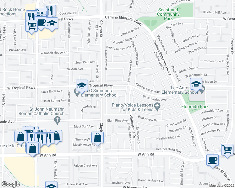 map of restaurants, bars, coffee shops, grocery stores, and more near 1846 Box Springs Ave in North Las Vegas