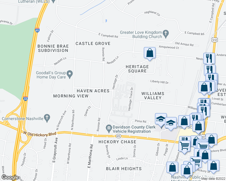 map of restaurants, bars, coffee shops, grocery stores, and more near 663 Heritage Drive in Nashville
