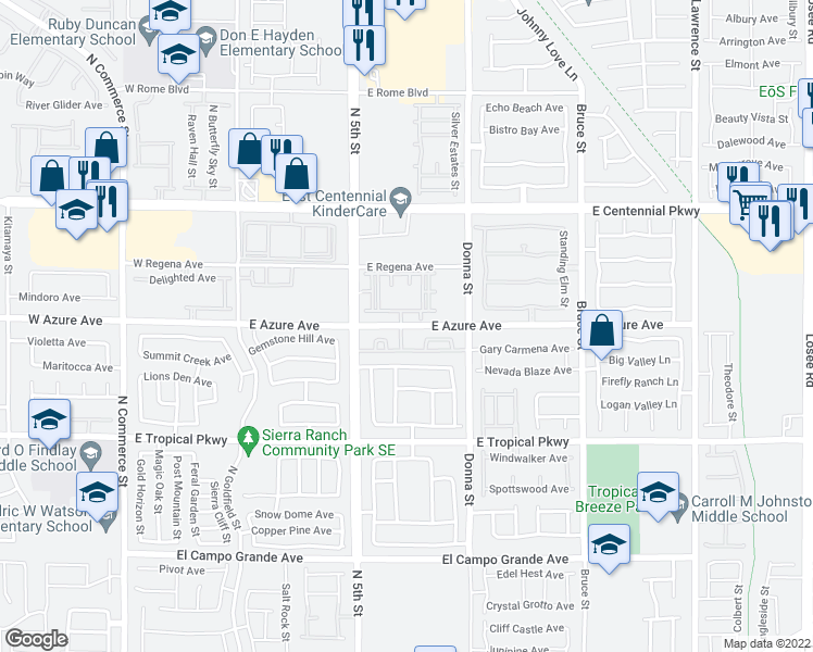 map of restaurants, bars, coffee shops, grocery stores, and more near 675 E Azure Ave in North La
