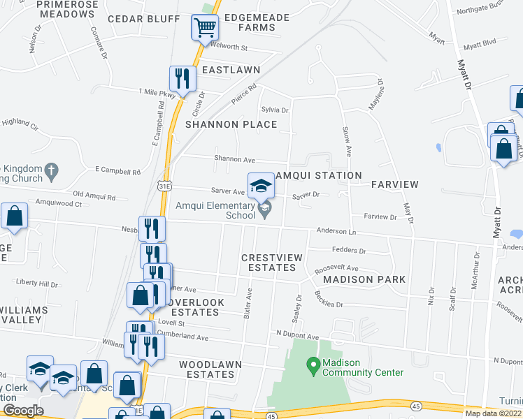 map of restaurants, bars, coffee shops, grocery stores, and more near 314 Sarver Avenue in Nashville