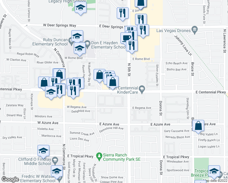 map of restaurants, bars, coffee shops, grocery stores, and more near 245 East Centennial Parkway in North Las Vegas
