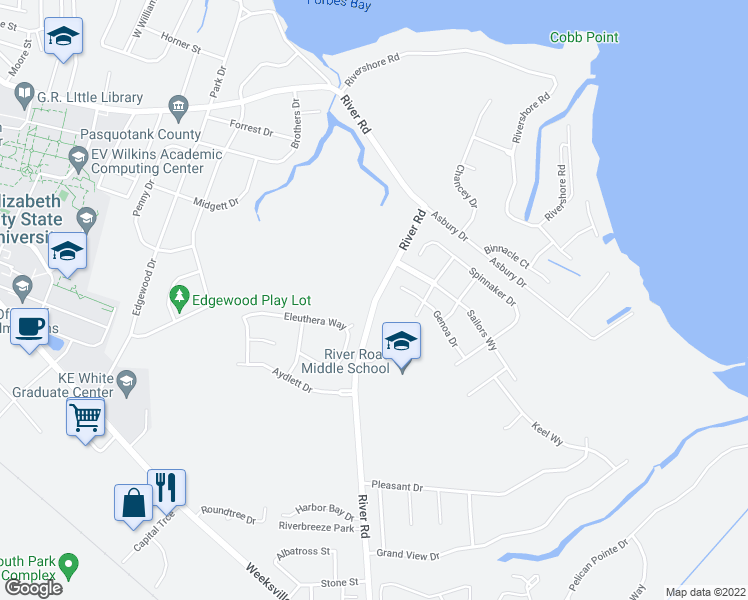 map of restaurants, bars, coffee shops, grocery stores, and more near 1703 River Road in Elizabeth City