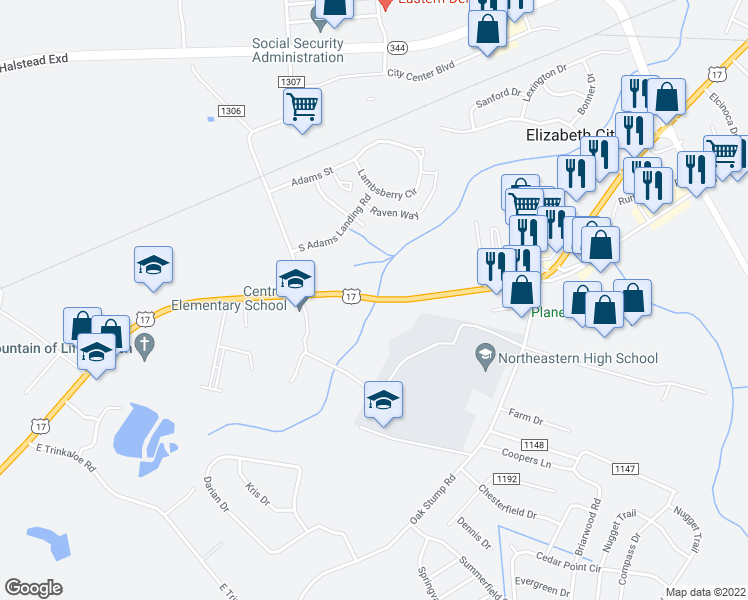 map of restaurants, bars, coffee shops, grocery stores, and more near 1044 US Highway 17 S in Elizabeth City