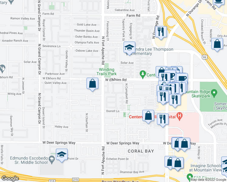 map of restaurants, bars, coffee shops, grocery stores, and more near 7132 Forest Frost Street in Las Vegas