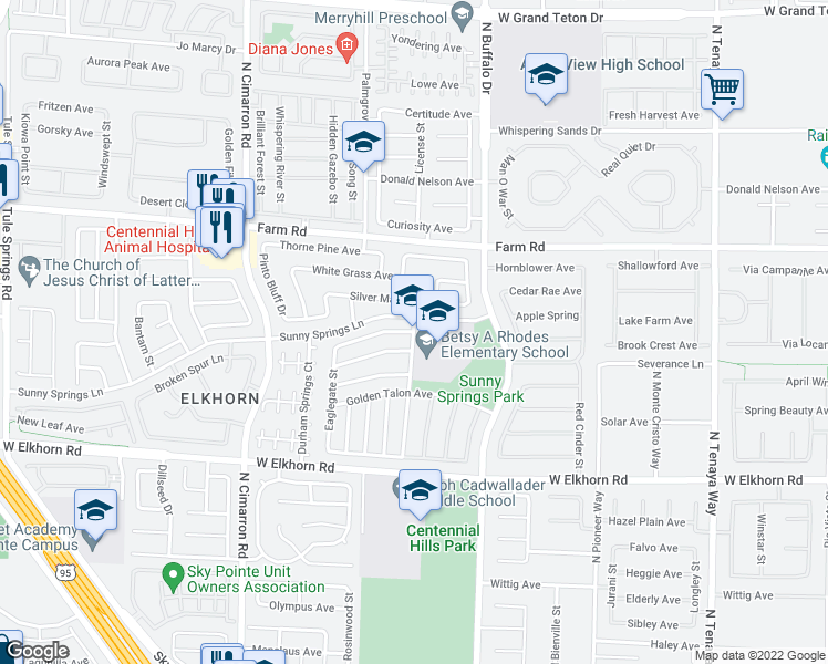 map of restaurants, bars, coffee shops, grocery stores, and more near 7201-7247 Tealwood St in Las Vegas