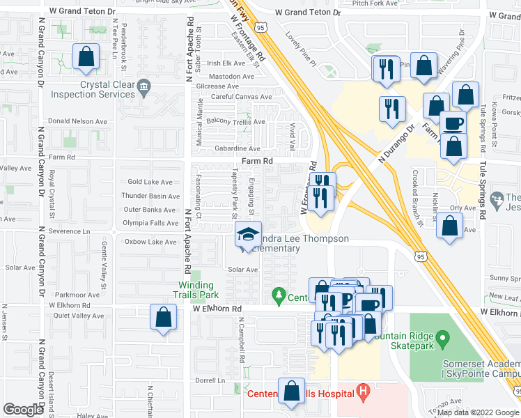 map of restaurants, bars, coffee shops, grocery stores, and more near 9005 Successful Ct in Las Vegas