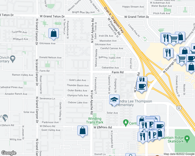 map of restaurants, bars, coffee shops, grocery stores, and more near 9144 Captivating Avenue in Las Vegas