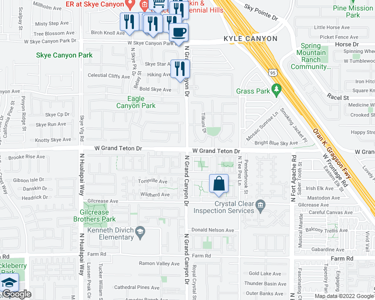 map of restaurants, bars, coffee shops, grocery stores, and more near Grand Teton Dr & N Grand Canyon Dr in Las Vegas