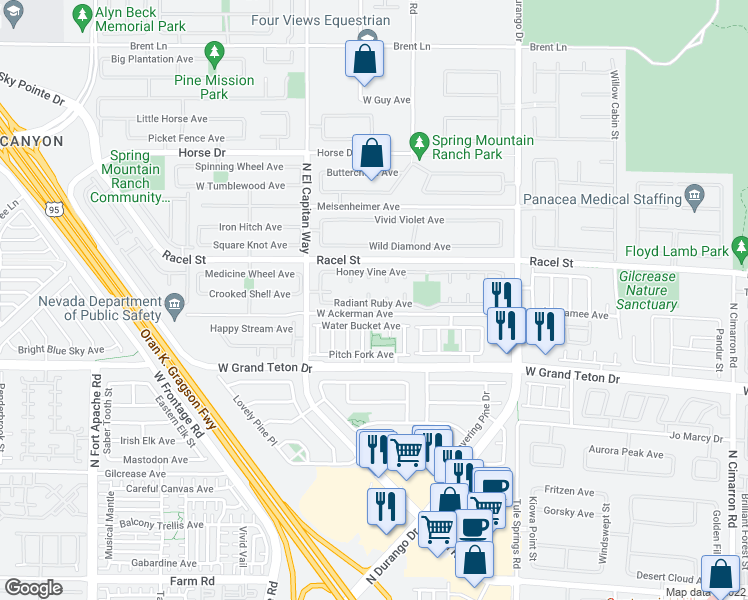 map of restaurants, bars, coffee shops, grocery stores, and more near 8100 Sienna Hollow Court in Las Vegas