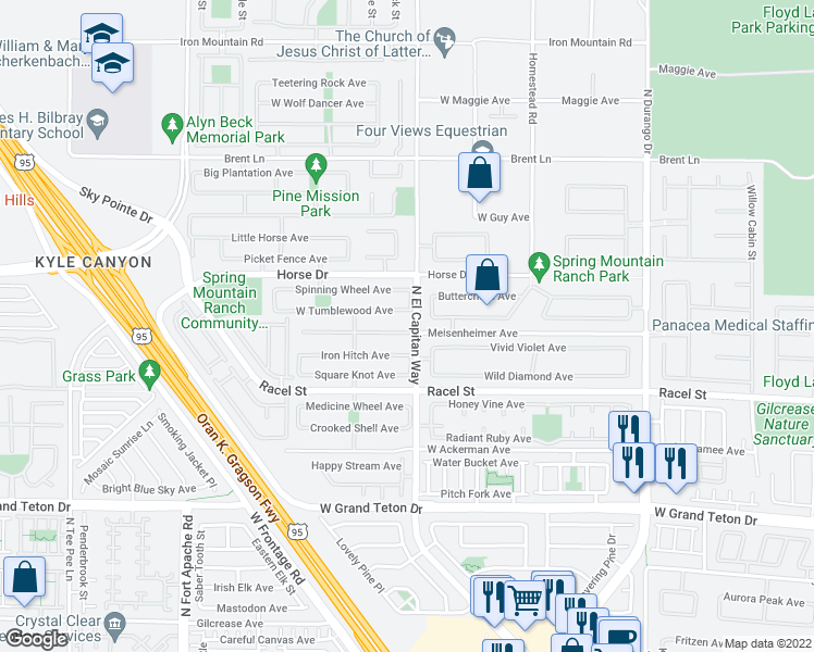 map of restaurants, bars, coffee shops, grocery stores, and more near 8804 Meisenheimer Avenue in Las Vegas