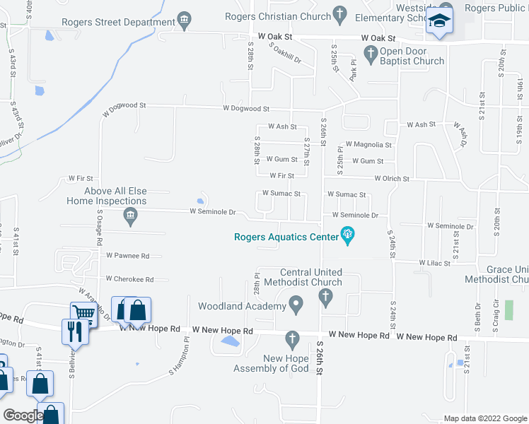 map of restaurants, bars, coffee shops, grocery stores, and more near 2800 West Seminole Road in Rogers