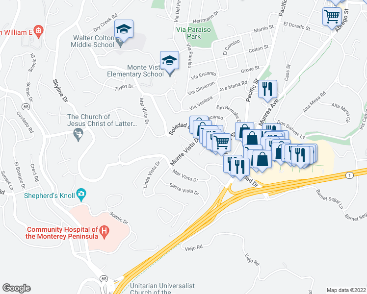 map of restaurants, bars, coffee shops, grocery stores, and more near Golden Oaks Lane in Monterey