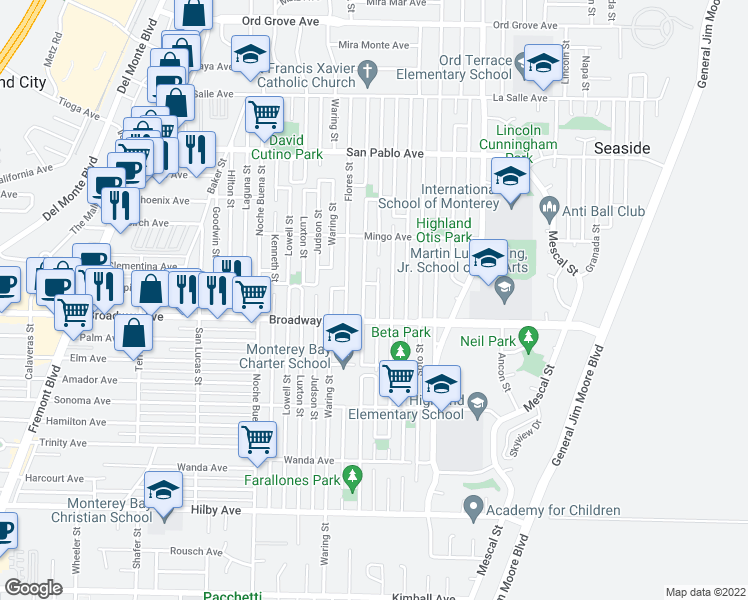 map of restaurants, bars, coffee shops, grocery stores, and more near 1617 Darwin St in Seaside
