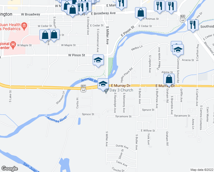 map of restaurants, bars, coffee shops, grocery stores, and more near 851-869 South Miller Avenue in Farmington
