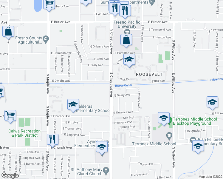 map of restaurants, bars, coffee shops, grocery stores, and more near S Chestnut Ave & E Atchison Ave in Fresno