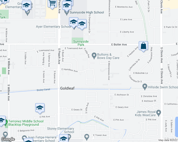 map of restaurants, bars, coffee shops, grocery stores, and more near 5298 East Hamilton Avenue in Fresno