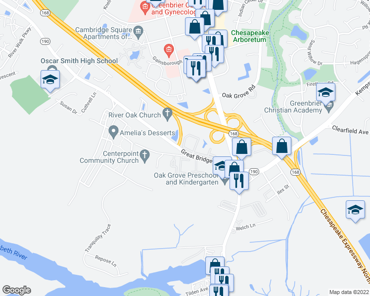 map of restaurants, bars, coffee shops, grocery stores, and more near Fairwind Drive in Chesapeake