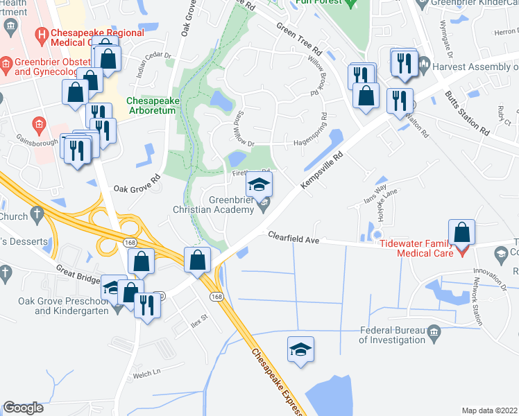 map of restaurants, bars, coffee shops, grocery stores, and more near 311 Kempsville Road in Chesapeake