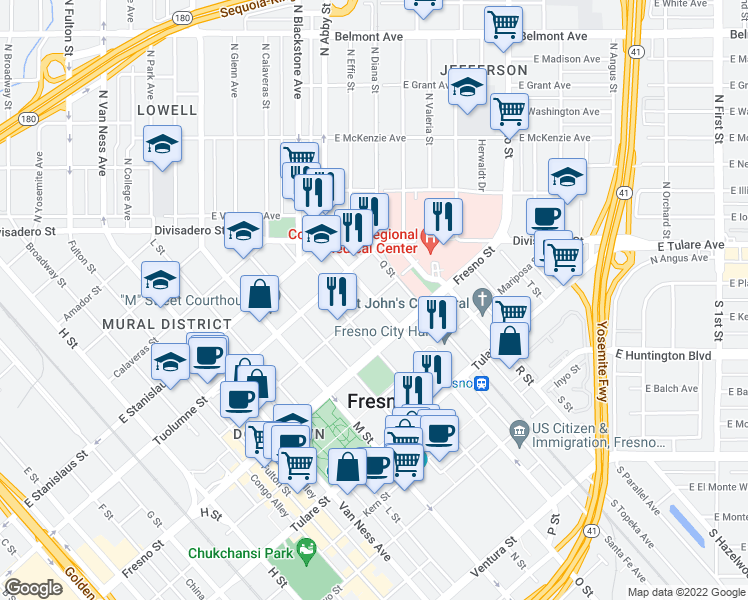 map of restaurants, bars, coffee shops, grocery stores, and more near P St & Merced St in Fresno