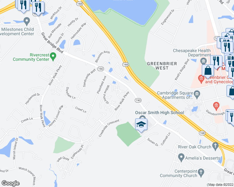map of restaurants, bars, coffee shops, grocery stores, and more near 1804 Willow Point Arch in Chesapeake