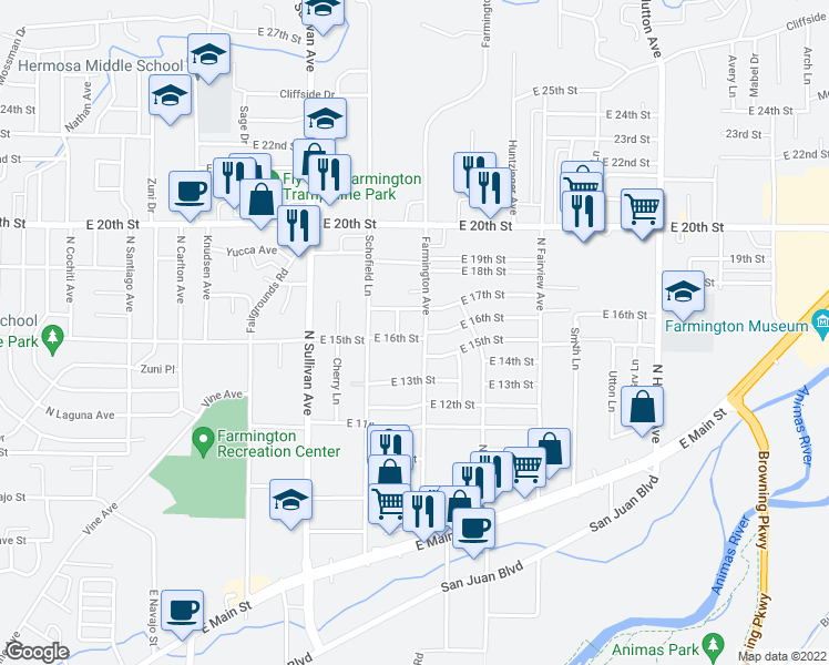 map of restaurants, bars, coffee shops, grocery stores, and more near 1631 Farmington Avenue in Farmington